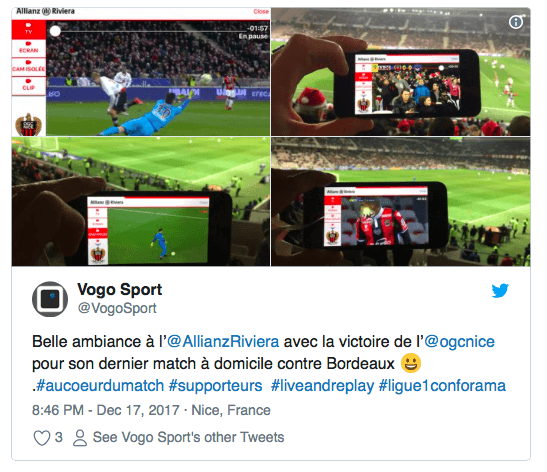 VOGO SPORT brings live video to in venue fans of OGC Nice soccer