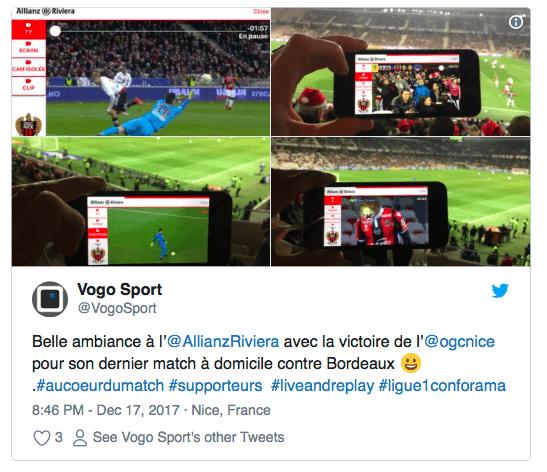 VOGO SPORT brings live video to in venue fans of OGC Nice soccer