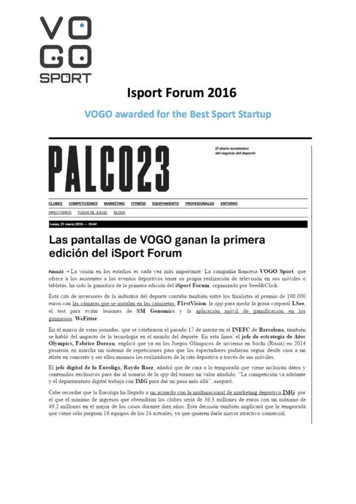 VOGO SPORT awarded at the iSport Forum Barcelona 2016