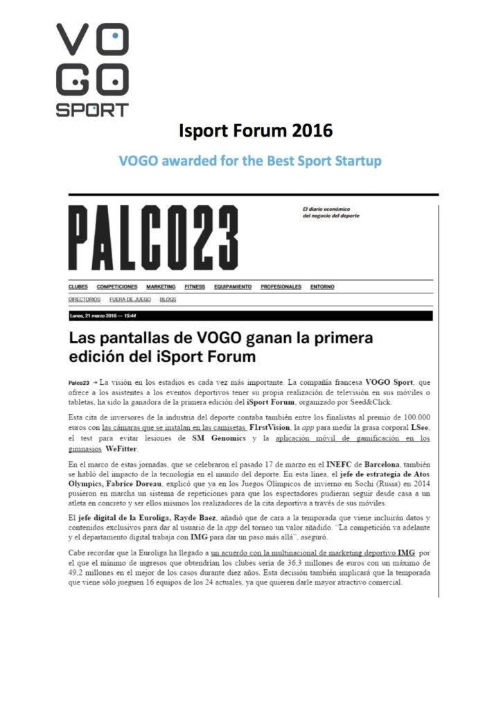 VOGO SPORT awarded at the iSport Forum Barcelona 2016