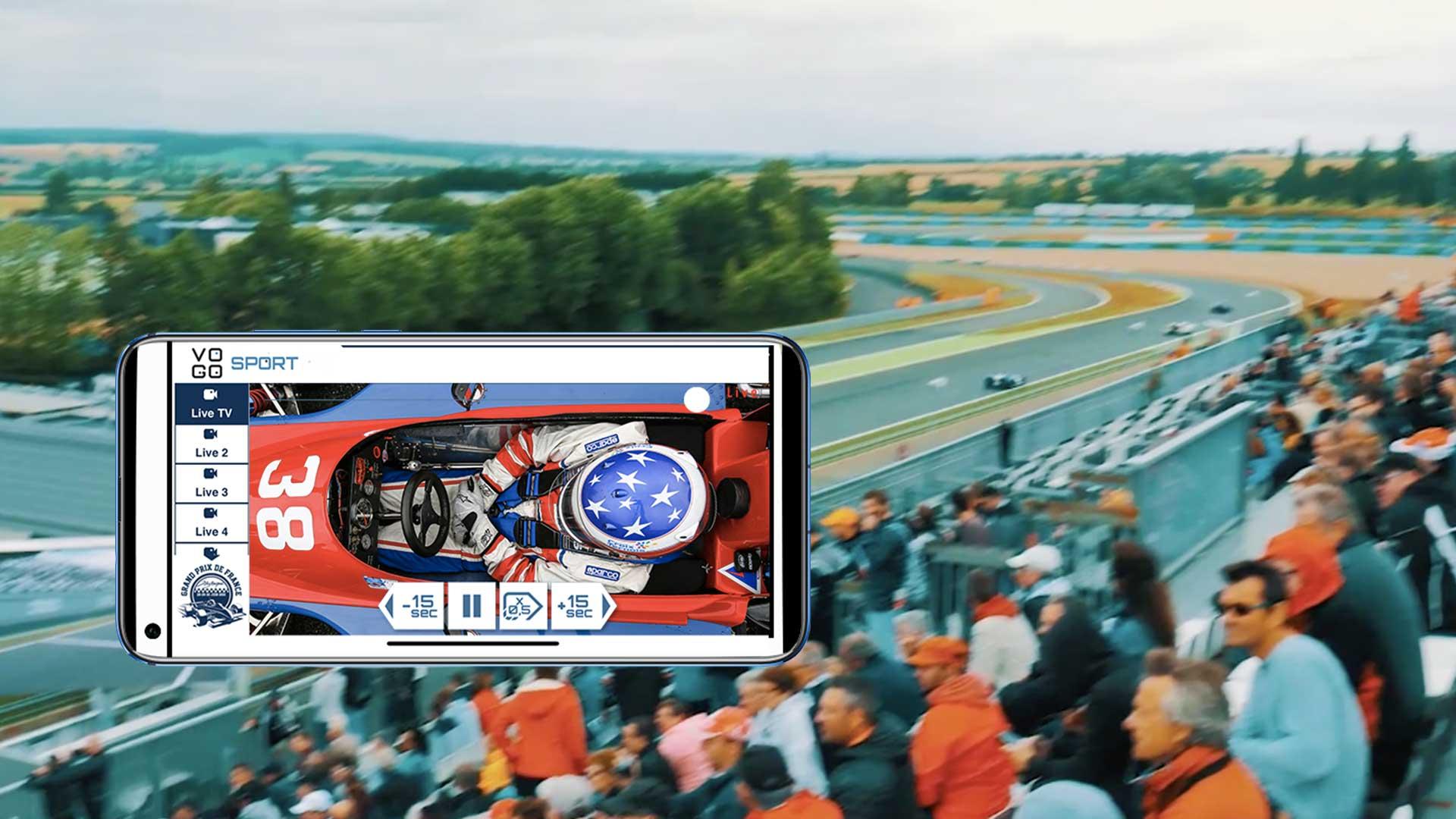 image du cockpit sur telephone portable avec la muticam vogo group